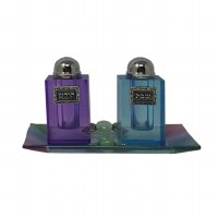 Glass Salt and Pepper Shaker Set Blue and Purple with Tray