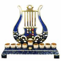 """Metal Oil Menorah Harp Motif 7.75"""""""