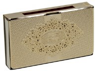 Matchbox Holder with Gold Colored Lazer Cut Exquisite Floral Shabbos Kodesh Design