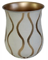 Stainless Steel Wash Cup White Ribbed and Gold Wavy Design