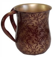 Stainless Steel Wash Cup Burgundy and Gold Floral Design