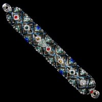 Mezuzah Case Jeweled Enamel Multi Colored Diamond Shaped Design 10cm