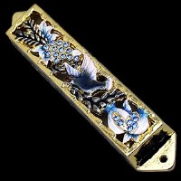 Mezuzah Case Jeweled Enamel Blue and Gold Dove Design 10cm