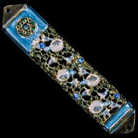 Mezuzah Case Jeweled Enamel Blue and Gold Magen David Design 10cm