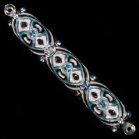Mezuzah Case Enamel Blue and Green Studded Jewel Design 10cm