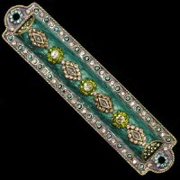 Mezuzah Case Enamel Green and Violet Jewel Studded Design 10cm