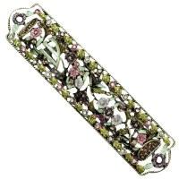 Mezuzah Case Jeweled Enamel Garden Design 7cm