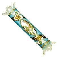 Mezuzah Case Jeweled Enamel Royal Blue and Green Shin Design 7cm