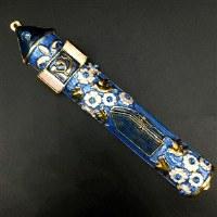 Mezuzah Case Jeweled Enamel Blue Gold and Pink Flower Design 10cm
