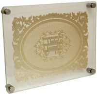 Challah Board Tempered Glass Gold Colored Laser Cut Floral Border and Oval Shaped Center Design