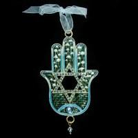 Hamsa Hand Wall Hanging Jeweled Magen David Design