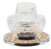Crystal Mayim Achronim Gold Floral Design Base Blue Center 4""