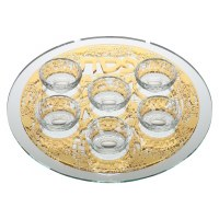 Seder Plate Mirrored Glass Designed with Gold Jerusalem Plate and 6 Elevated Bowls
