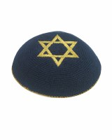 Navy with Gold Star of David Knitted Kippah Serugah 16cm - A10