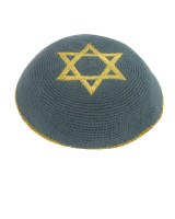 Gray with Gold Star of David Knitted Kippah Serugah 16cm - A7