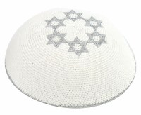 White with Ring of Stars of David in Silver Knitted Kippah Serugah 16.5cm - B4