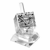 Crystal Dreidel Scenes of Jerusalem Design with Stand Clear