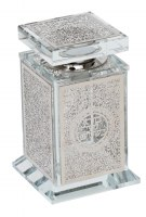 Crystal Besamim Holder Designed with Filigree Plate Silver Color