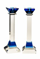 Crystal Candlesticks Blue Accent 10""