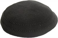 Black Fine Knitted Kippah Serugah with Holes 12cm