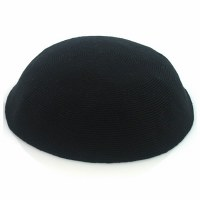 Black Fine Knitted Kippah Serugah 12cm