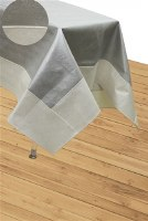 "Vinyl Tablecloth Silver Base Bordered with Cream Pebble Design 65"" x 90"""