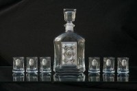 Shot Glasses Set of 6 with Square Shaped Bottle Decanter