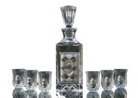 Shot Glasses Set of 6 with Rectangle Shaped Bottle Decanter