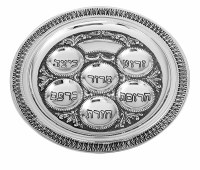 Seder Plate Silver Plated Round Filigree Design 16""