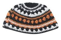 Orange, Black and White Striped Frik Kippah 22cm