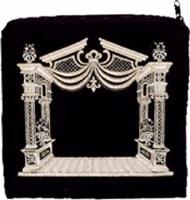 Tefillin Bag Velvet Silver Embroidered Chuppah Desiign Navy