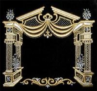 Tefillin Bag Velvet Gold Embroidered Canopy Design Black