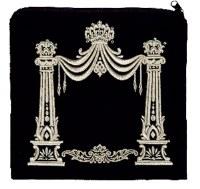 Tefillin Bag Velvet Silver Embroidered Chandeliered Chuppah Design Black