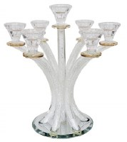 Crystal Candelabra 7 Branch Designed with Crushed Glass Gold Rim