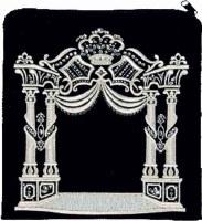 Tefillin Bag Velvet Silver Embroidered Crowned Design Black