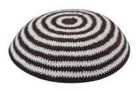 Brown and White Knitted Kippah Serugah 16.5cm