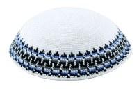 White with Blue and Black Design Fine Knitted Kippah Serugah 17cm - B1