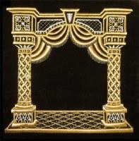Tefillin Bag Velvet Gold Embroidered Pillared Canopy Design Black