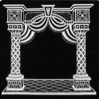 Tefillin Bag Velvet Silver Embroidered Pillared Canopy Design Navy