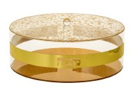 Lucite Matzah Holder Gold Colored Design with Cover