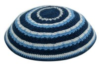 Black Blue and White Striped Fine Knitted Kippah Serugah 16cm - A11