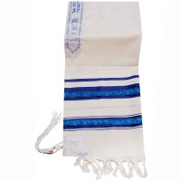 "Tallis Wool Size 18 with Decorative Ribbon Blue and Silver 18"" x 72"""