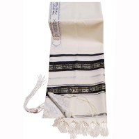 "Tallis Wool Size 24 with Decorative Ribbon Ze Keili V'anveyhu Black and Silver 24"" x 72"""