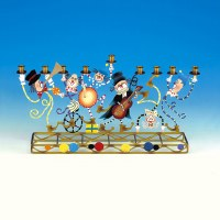 Candle Menorah Enameled Metal Featuring Multi Colored Klezmer and Clowns
