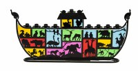 Candle Menorah Noah's Ark Metal and Colorful Glass Featuring Animal Pairs
