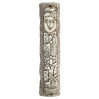 Polyresin Mezuzah Case Stone Look Jerusalem Design Brown 15cm