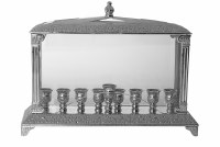 Silver Plated Oil Menorah in Glass Box Wall Style Intricate Jerusalem Design