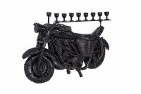 Resin Candle Menorah Black Motorcycle Shape