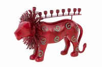 Metal and Resin Candle Menorah Red Lion  Accentuated with Swirl Design
