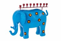 Metal and Resin Candle Menorah Blue Elephant Accentuated with Squares Design